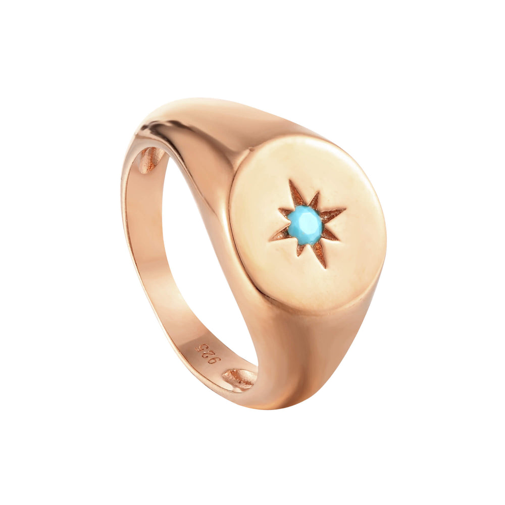 turquoise rose gold ring - seol gold