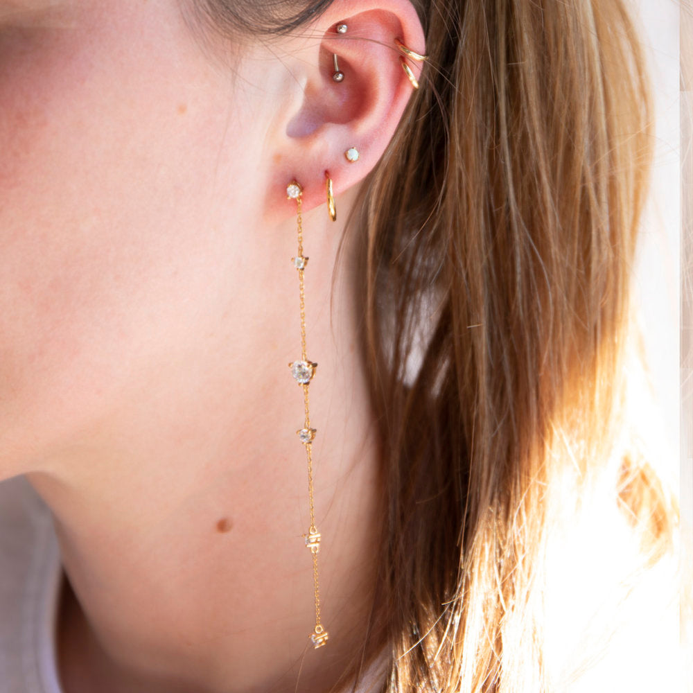 Cz Studded Chain Long Drop Studs