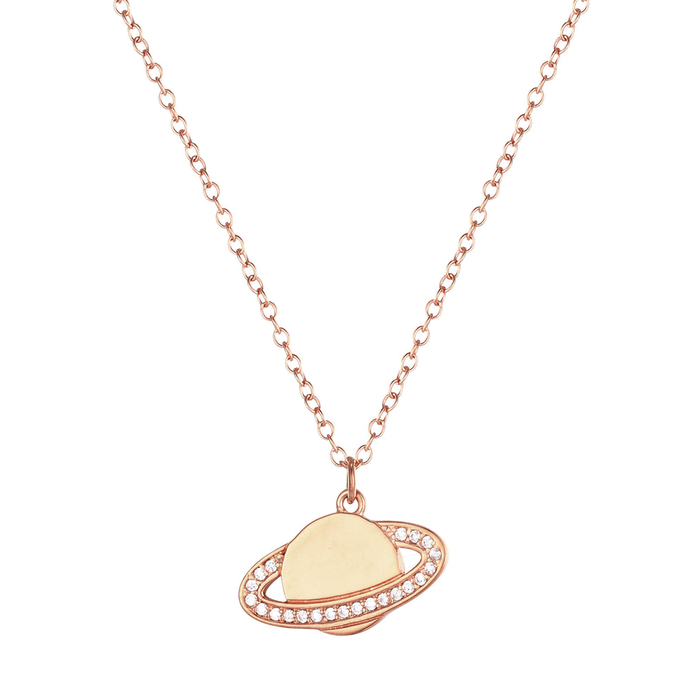 rose gold planet necklace - seolgold
