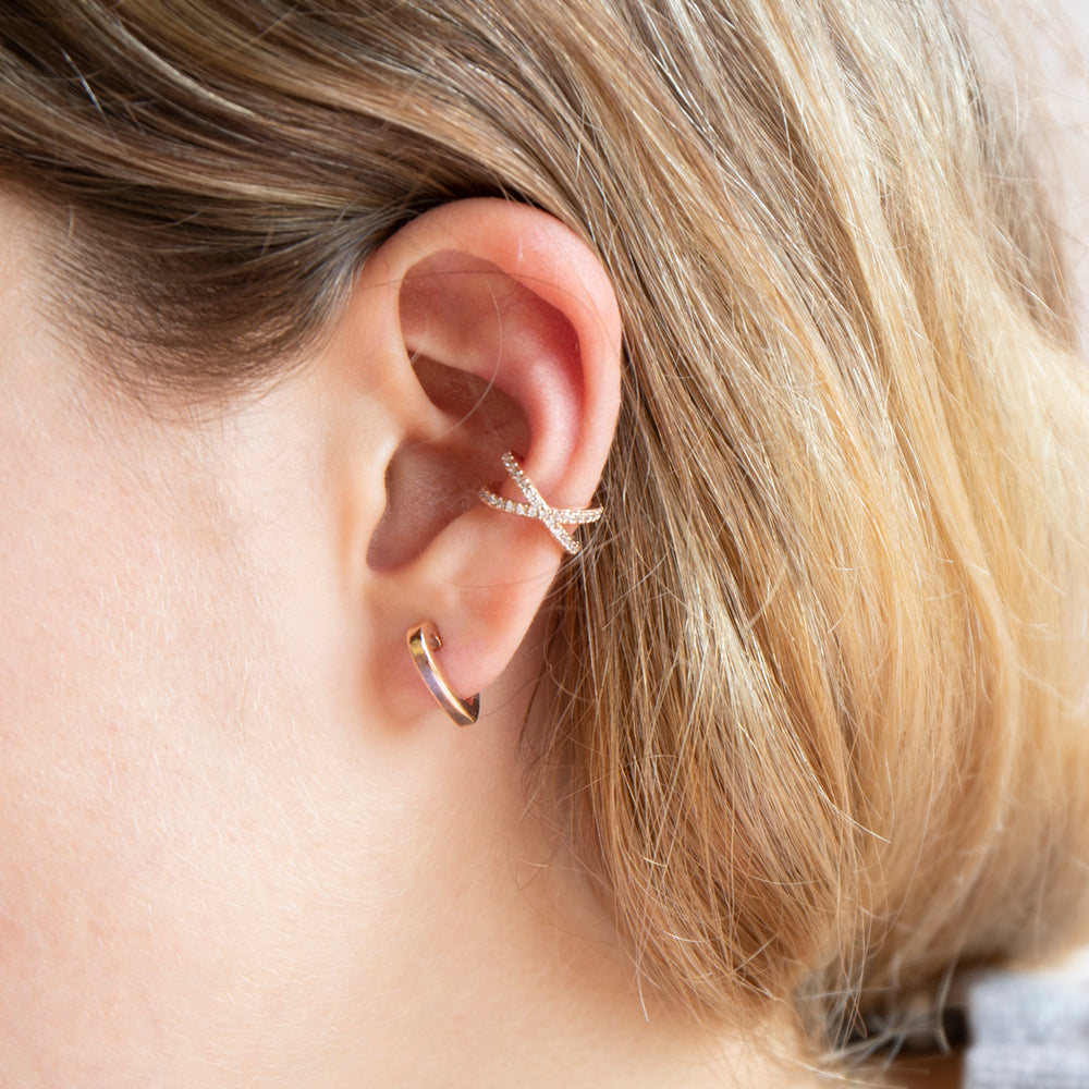 CZ Crossover Cuff Earring - seol-gold
