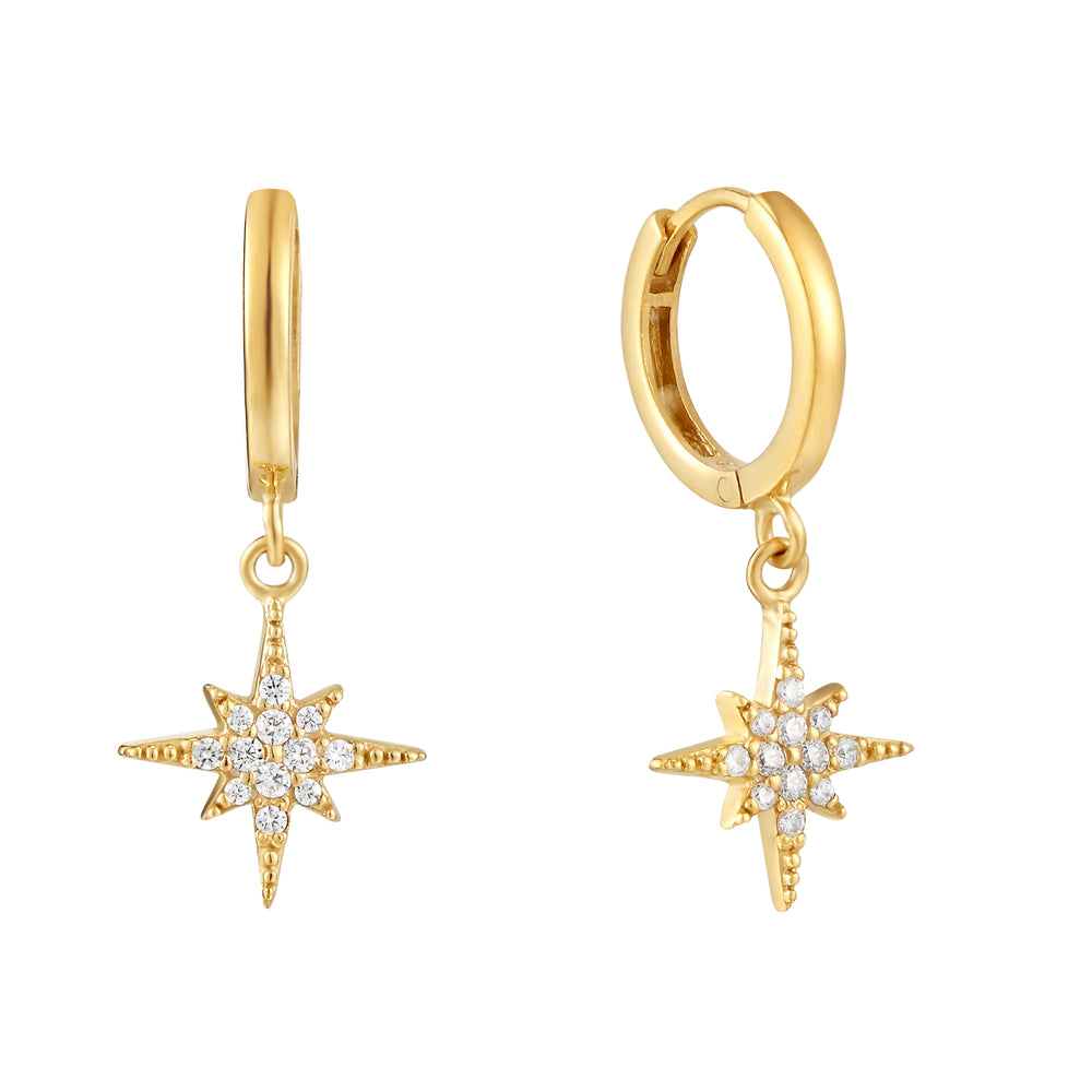 CZ North Star Charm Hoops