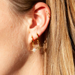 CZ North Star Charm Hoops - seol-gold