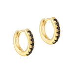 black cz - tiny gold hoops - seolgold