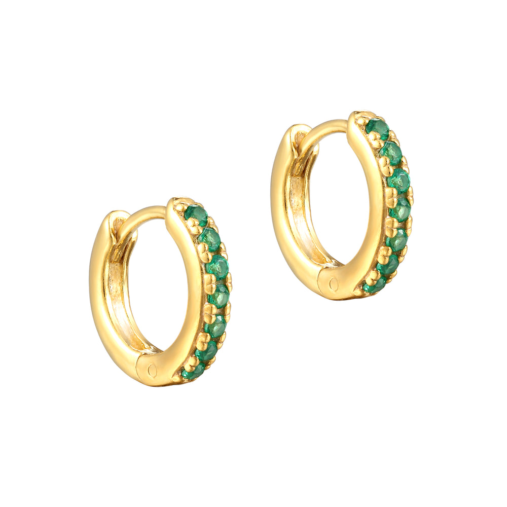 Emerald - gold Hoops - seol-gold