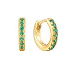 Emerald - tiny gold Hoops - seol-gold