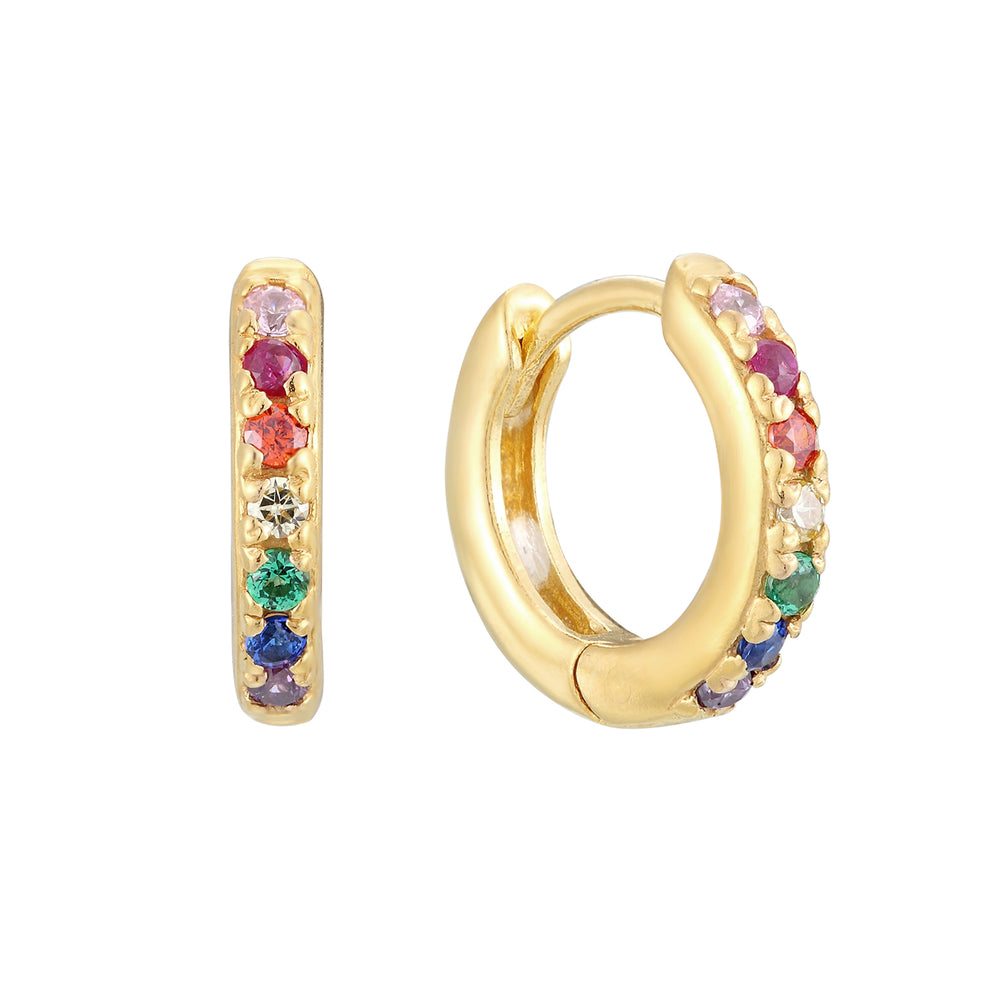 Tiny gold rainbow hoops - seol-gold