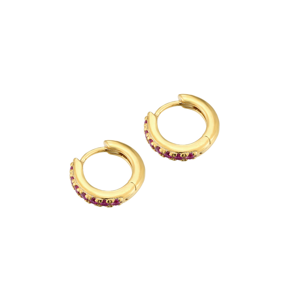 Ruby CZ Hoops - seol-gold