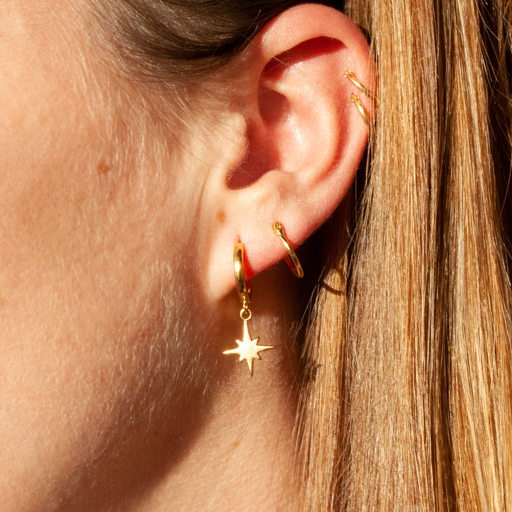 North Star Charm Hoops - seol-gold