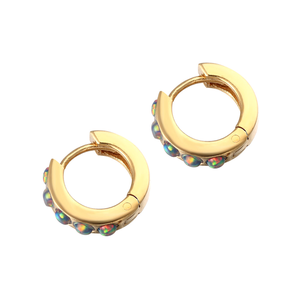 Opal Hoop Earrings - seol-gold