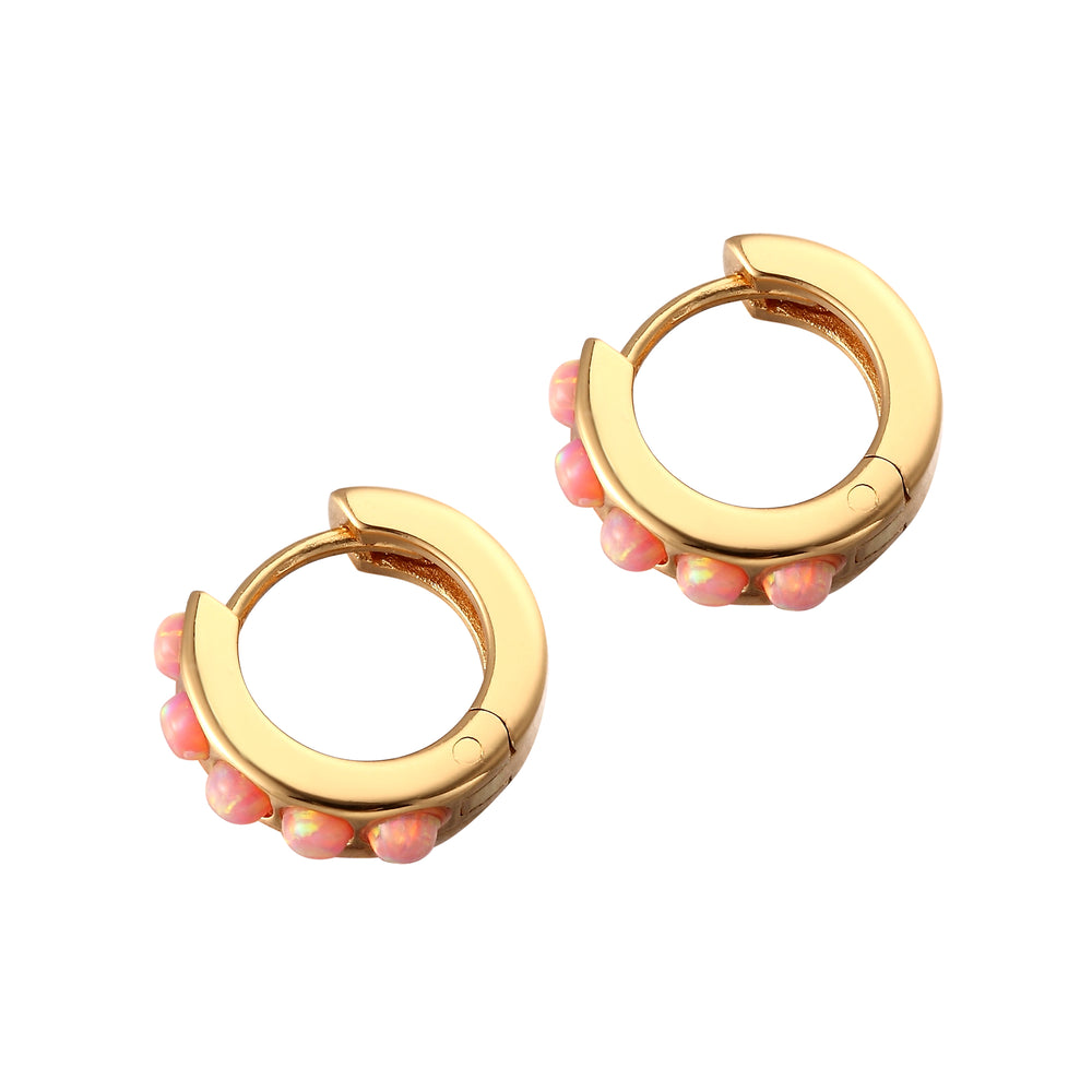 tiny opal hoop earrings - seolgold