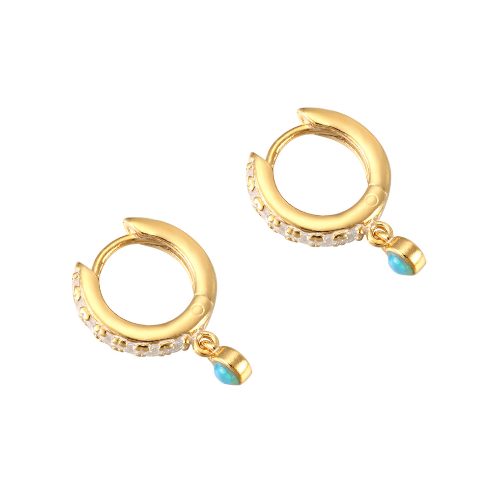opal - tiny gold hoops - seolgold