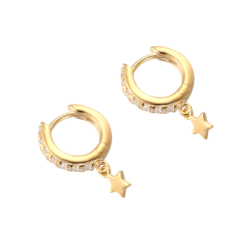tiny gold star - cartilage hoops - seolgold