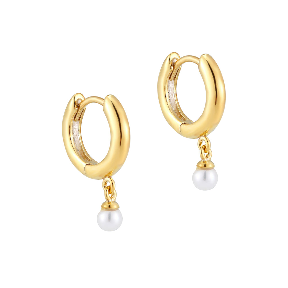 pearl gold hoop earrings - seol gold