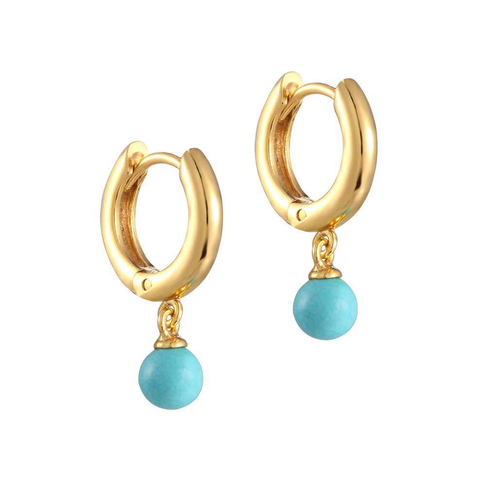 Turquoise Drop Charm Hoops