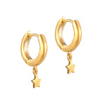 Plain Star Charm Hoops - seol-gold