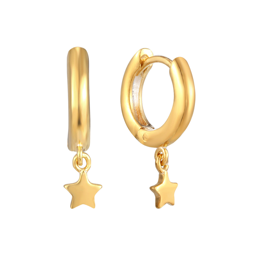 Star Charm Hoops - seol-gold