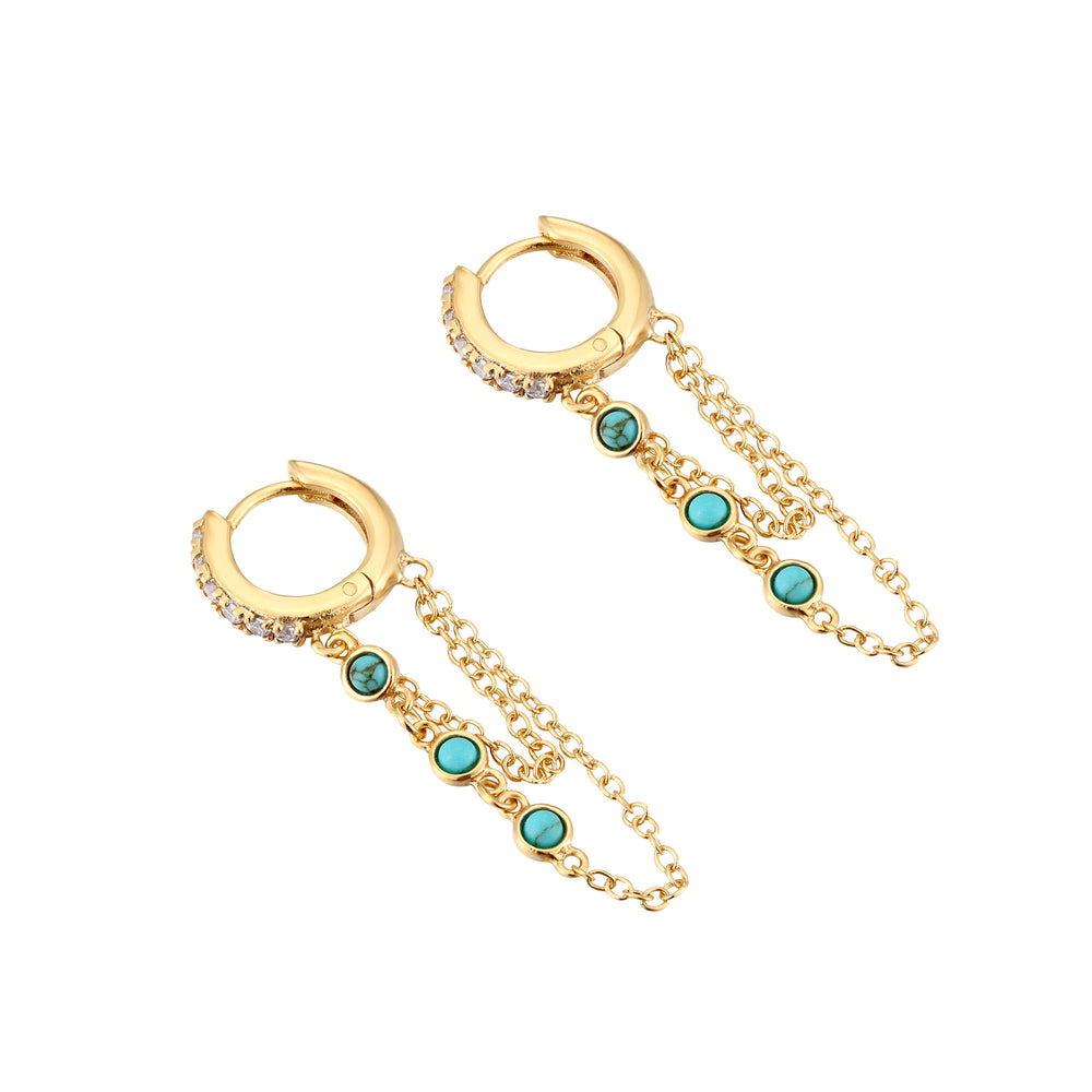 Turquoise - chain Hoops - seol-gold
