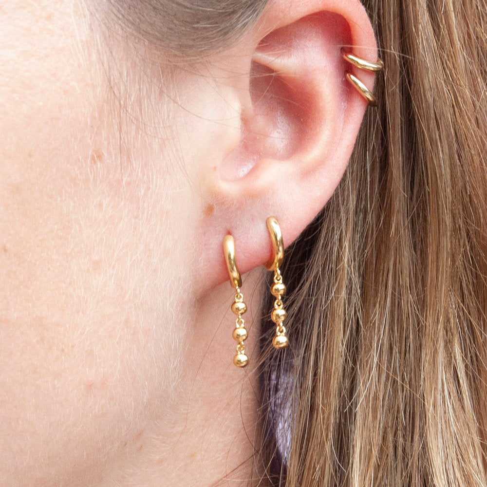Beaded Drop Hoops - seol-gold