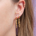 Bead Chain Drop Hoops - seol-gold