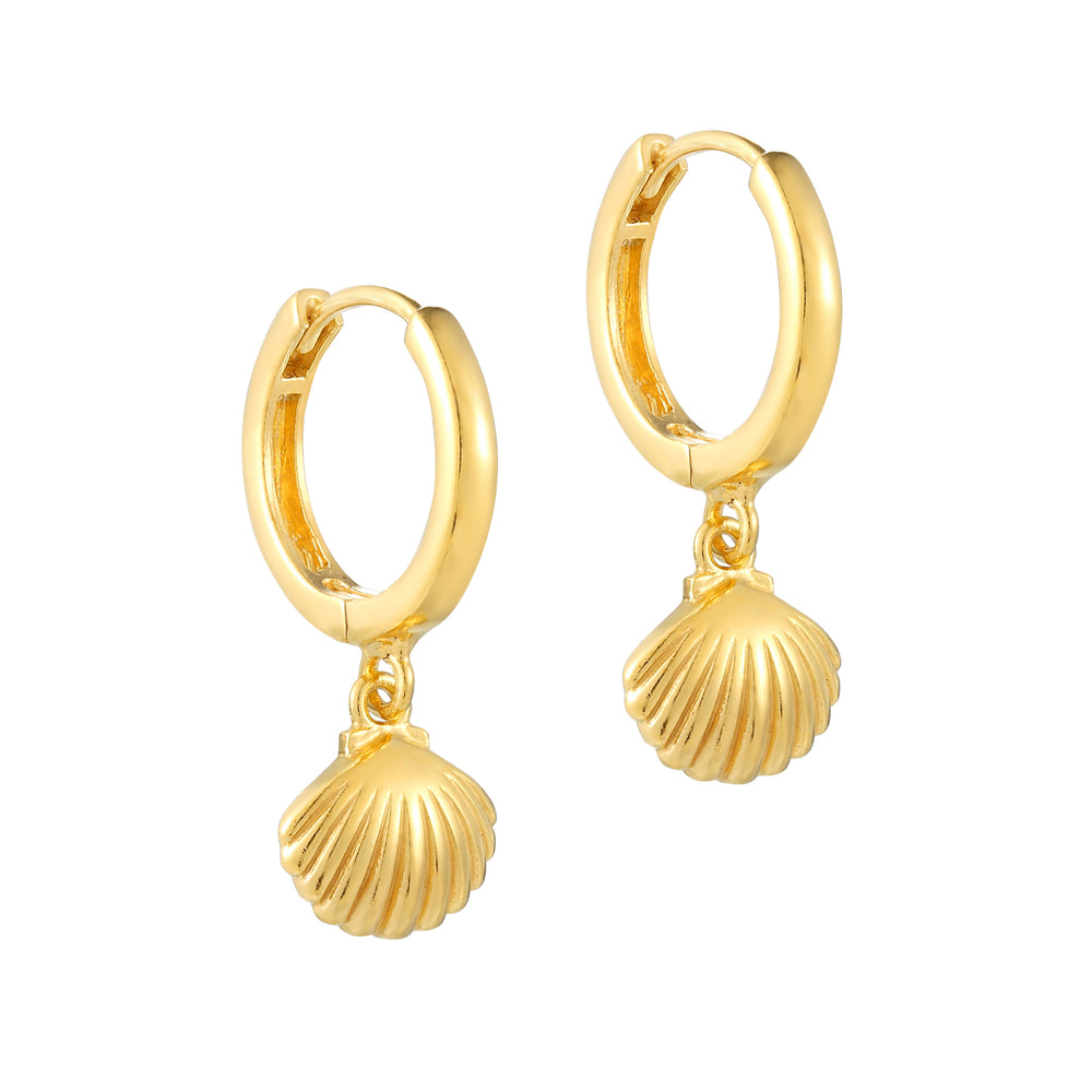 Gold shell charm Hoop Earrings - seol-gold