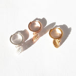 Shell Charm Hoops - seol-gold