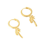 Palm Tree - tiny gold Hoops - seol-gold