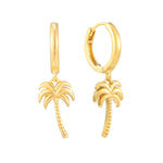 Palm Tree Charm Hoops - seol-gold