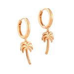 Palm Tree Charm Hoops