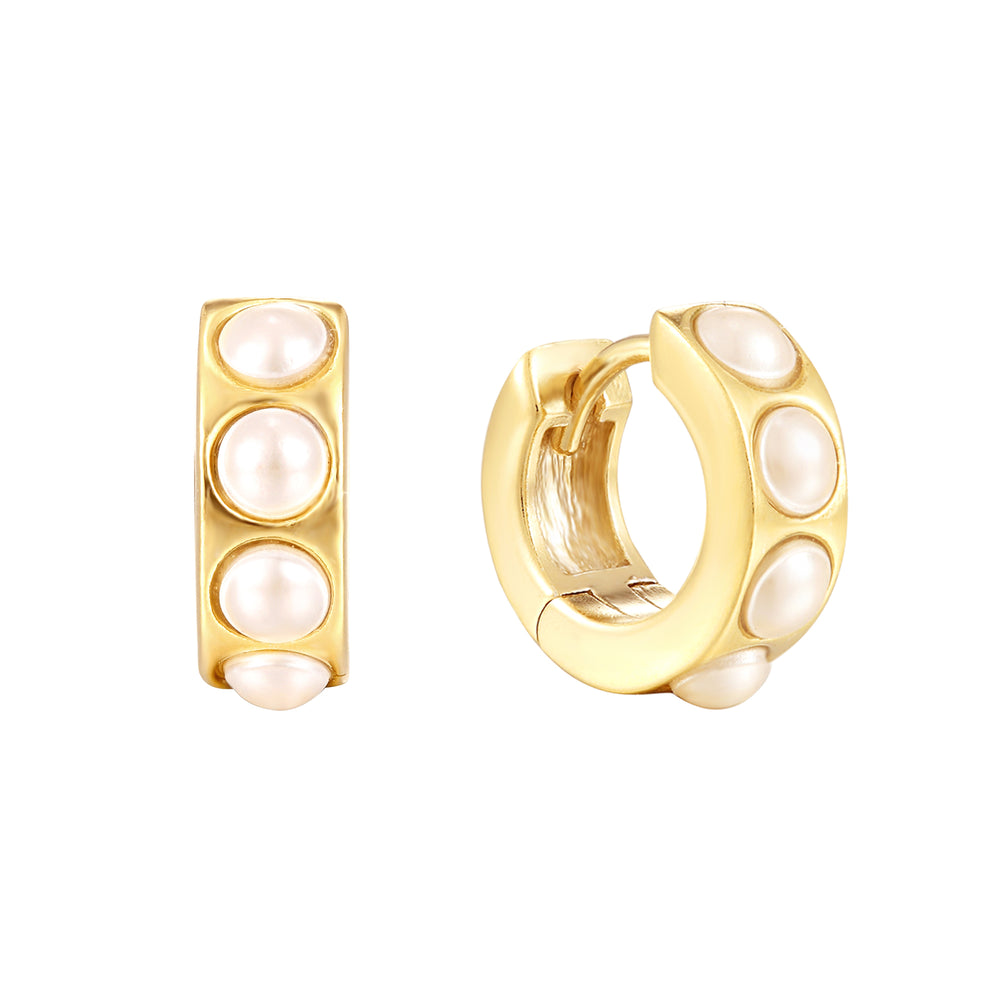 Pearl Huggie Hoop Earrings - seol-gold