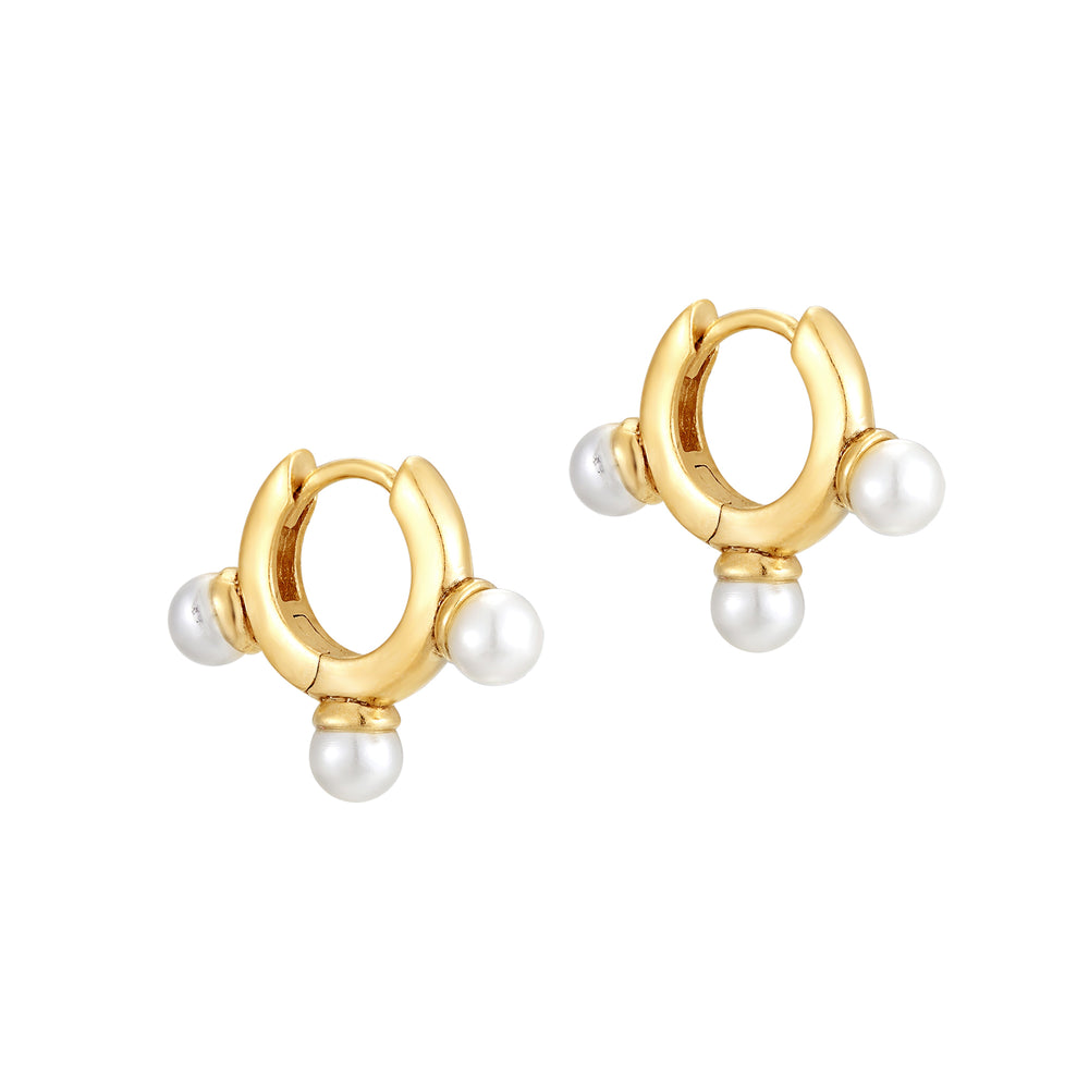 gold pearl hoops - seol-gold