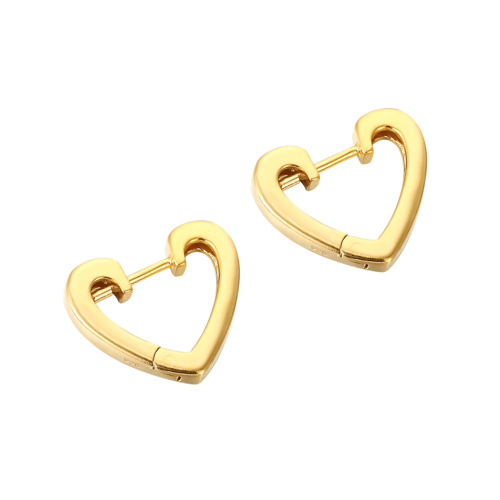 Heart Huggie Hoops - seol-gold