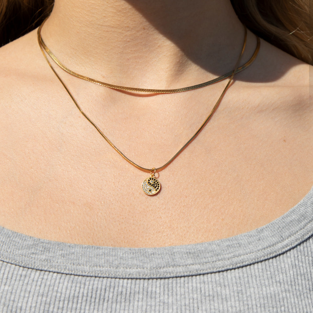 Yin Yang charm necklace - seol-gold