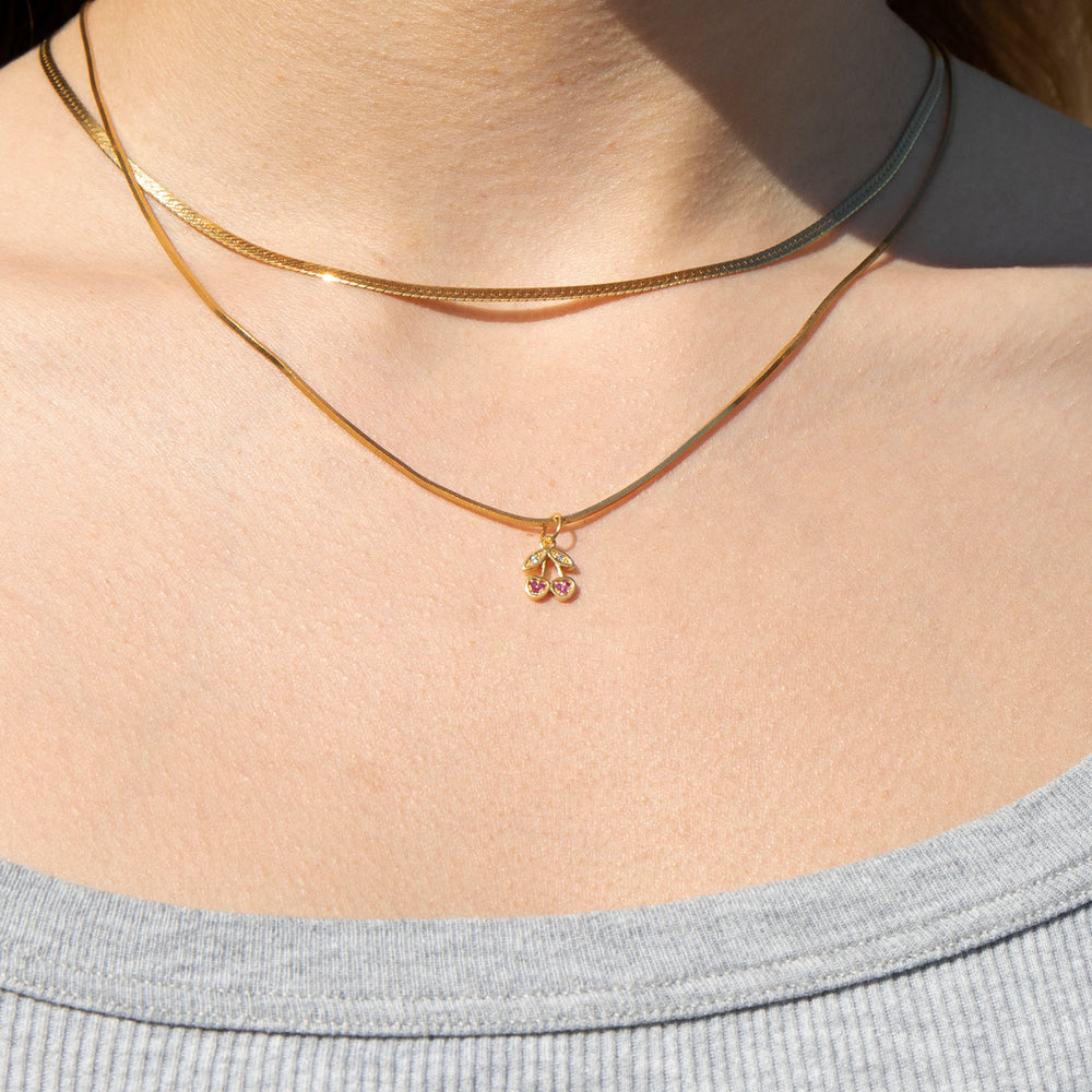 Tiny CZ Cherry Charm - seol-gold