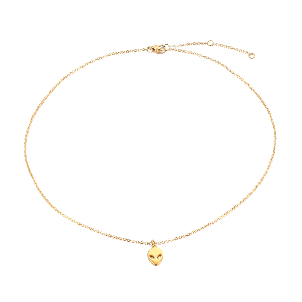 Alien face necklace - seol-gold