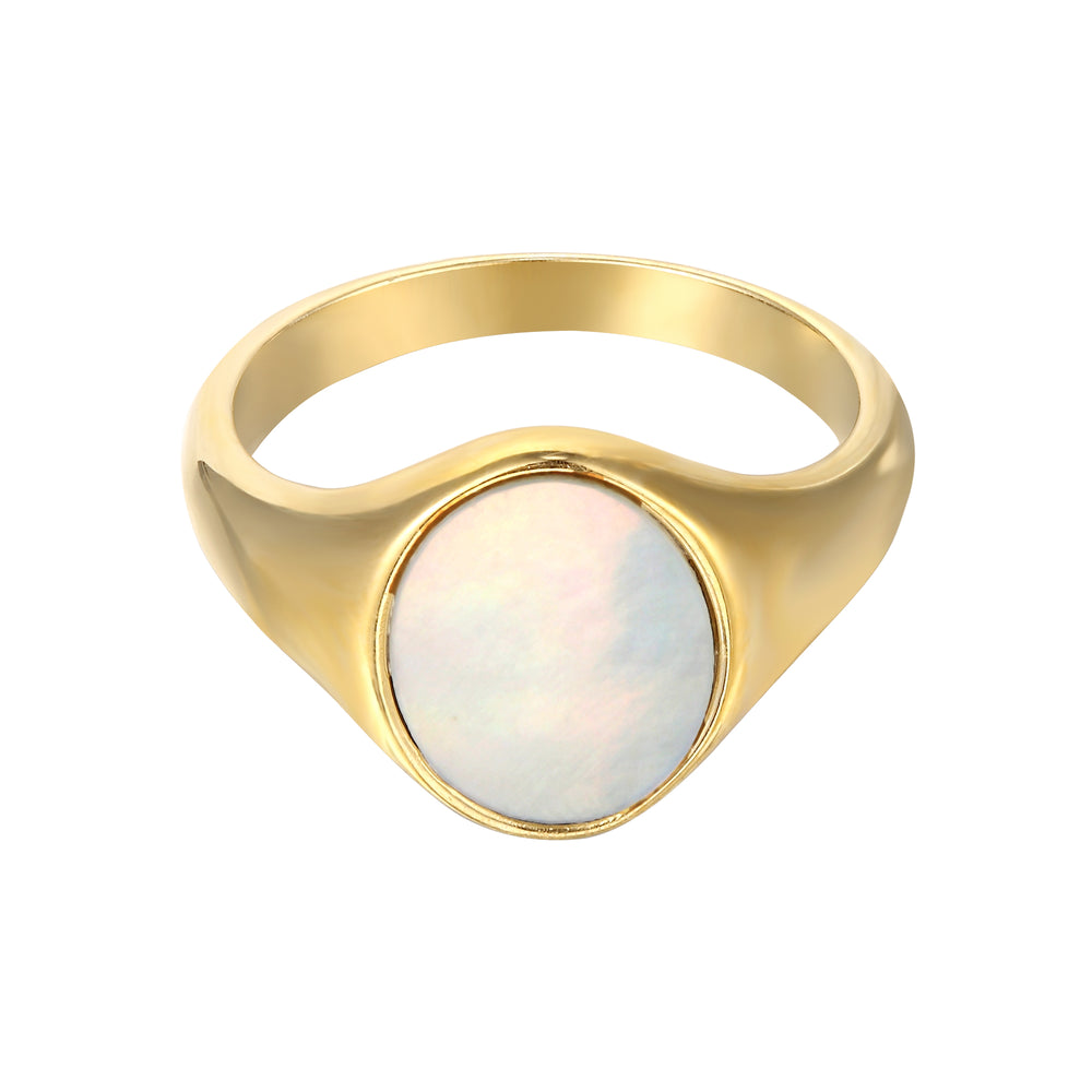 mother of pearl ring - seol gold
