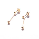 Bead Chain Stud Earrings - seol-gold