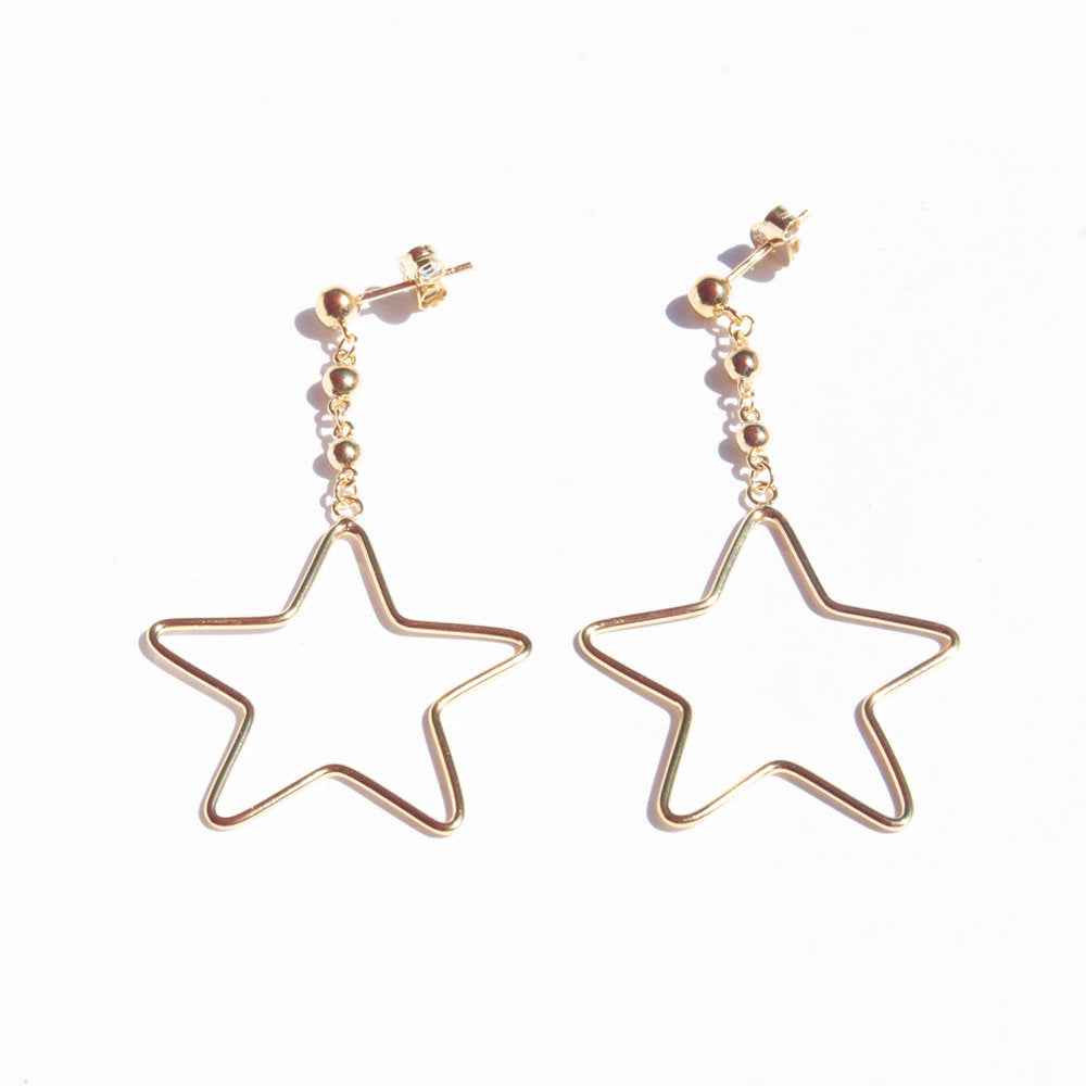 Star Bead Dot Drop Stud Earrings
