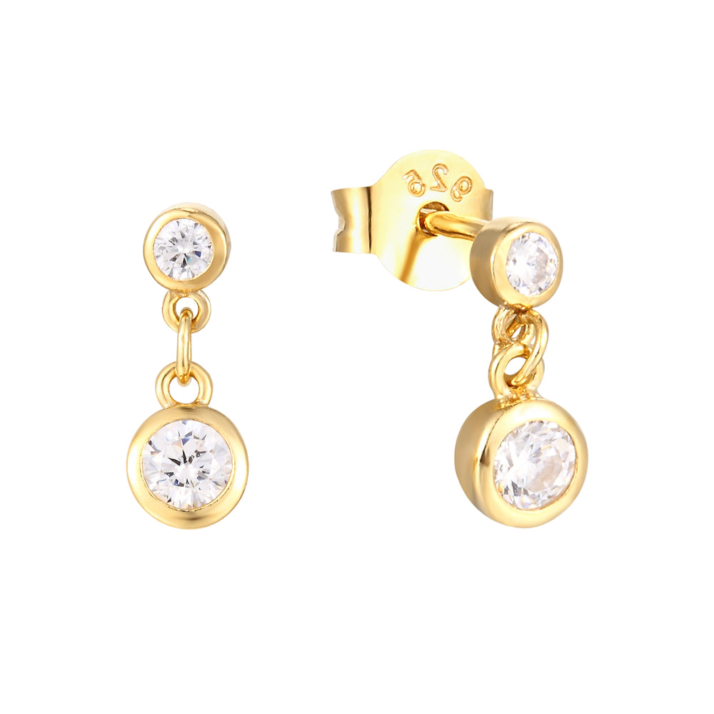 CZ Bezel Charm Stud Earrings