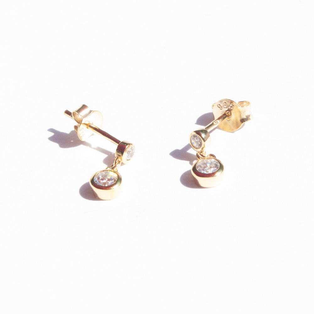 Tiny CZ Drop Bezel Charm Stud Earrings - seol-gold