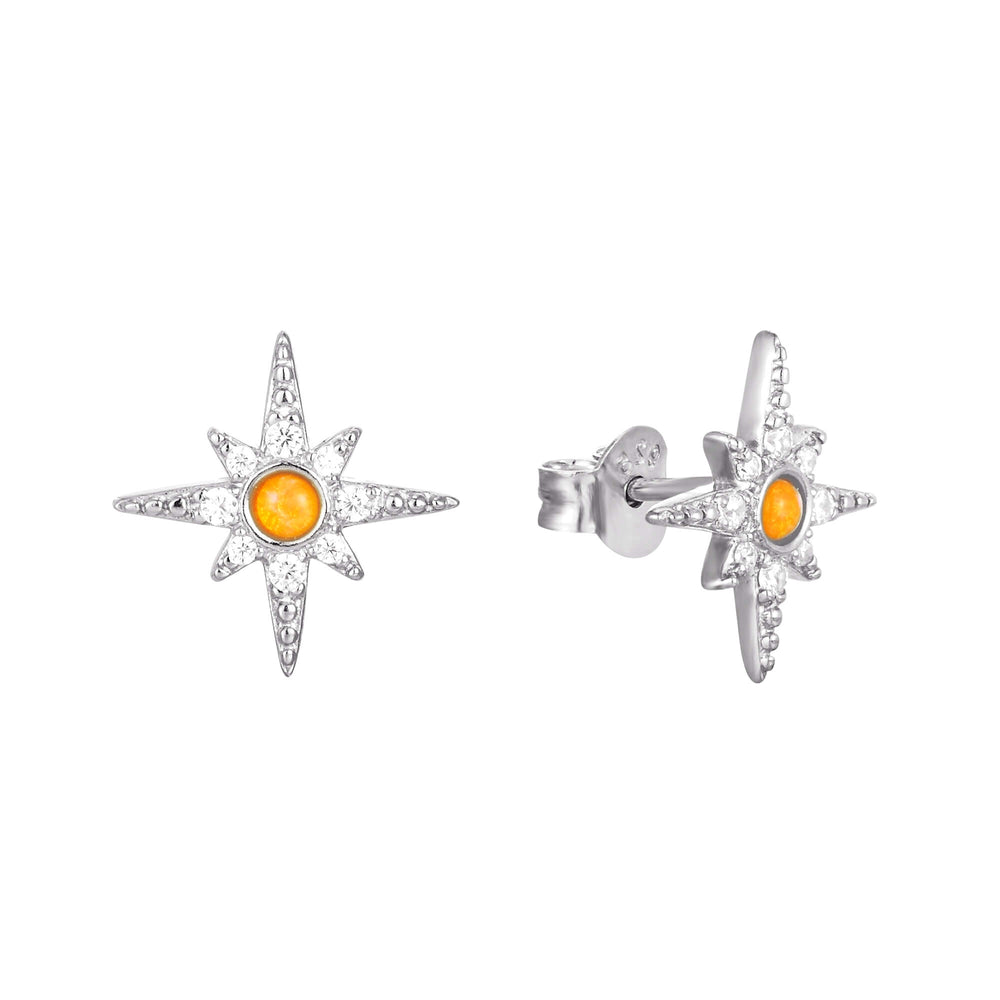 North Star Opal CZ Stud Earrings - seol-gold
