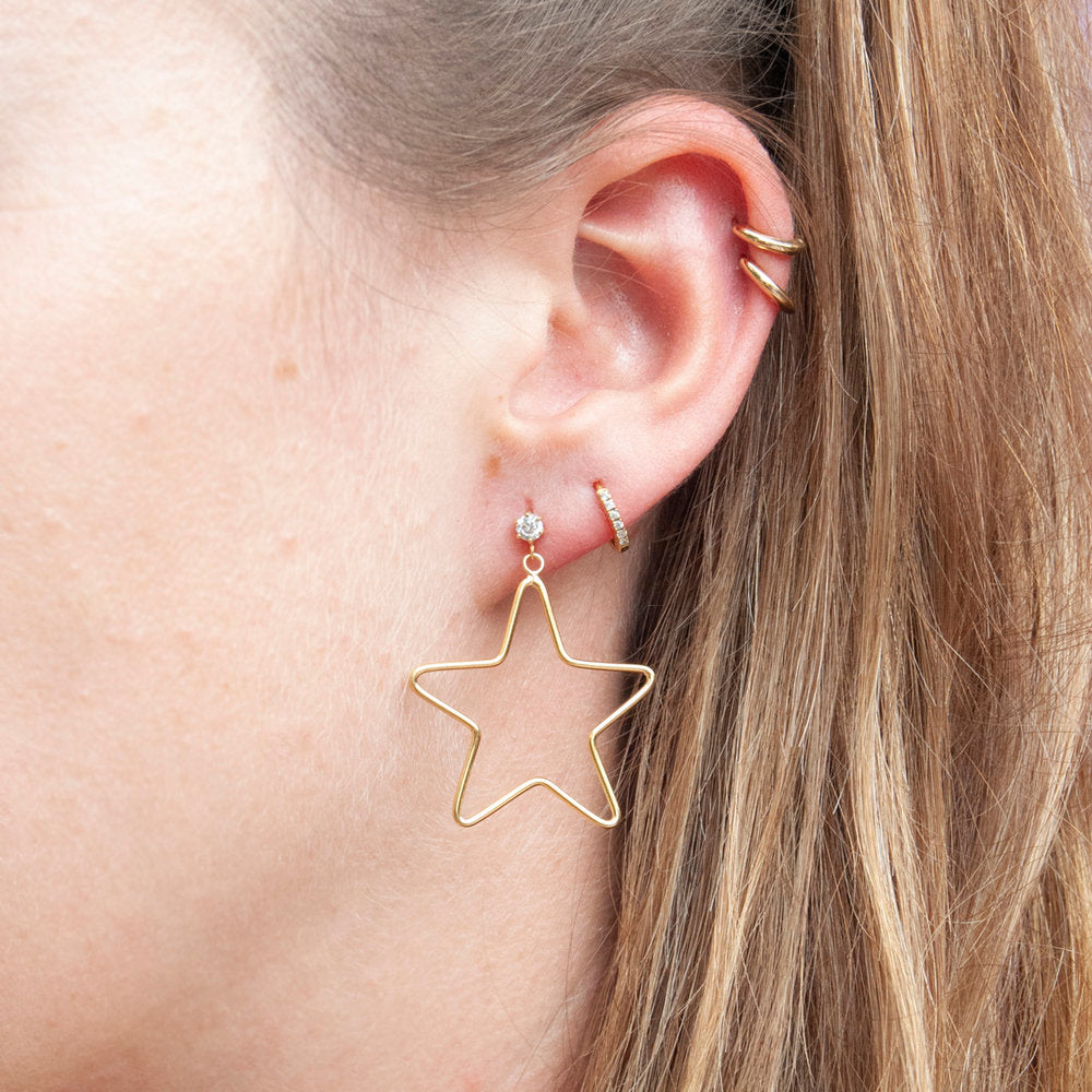 Star CZ Drop Stud Earrings