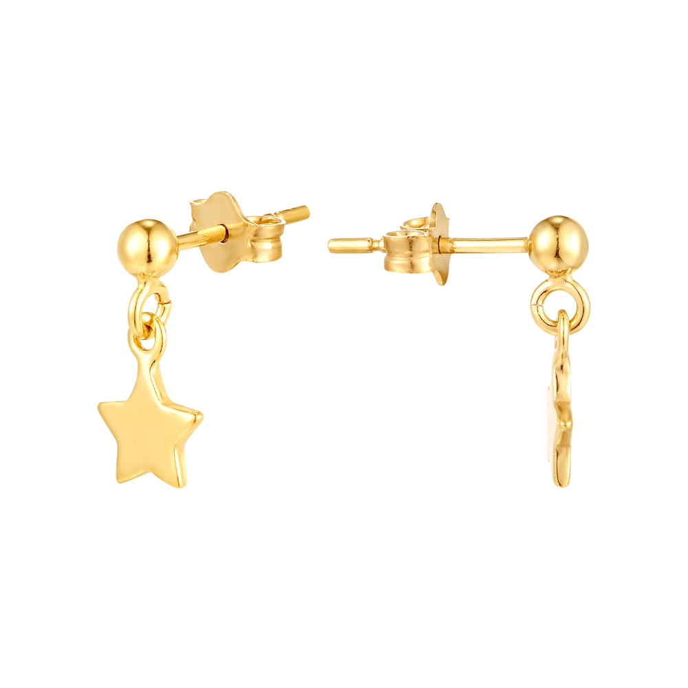 Tiny Star Drop Charm Stud Earrings - seol-gold