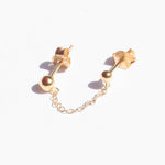 Ball Stud Chain Stud Earrings - seol-gold