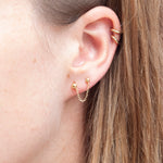 Gold Stud Chain Stud Earrings - seol-gold