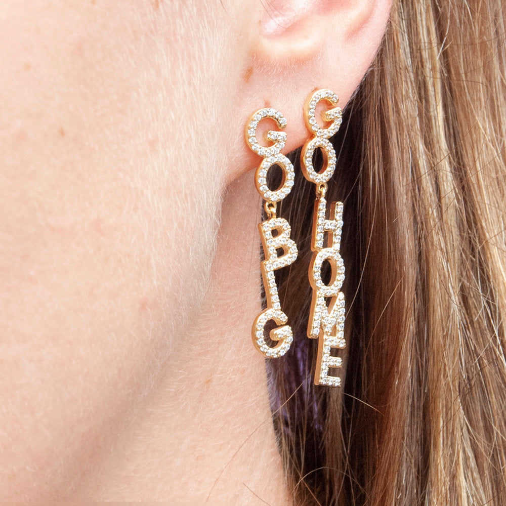 'Go big Go home' CZ Word Drop Stud Earrings - seol-gold