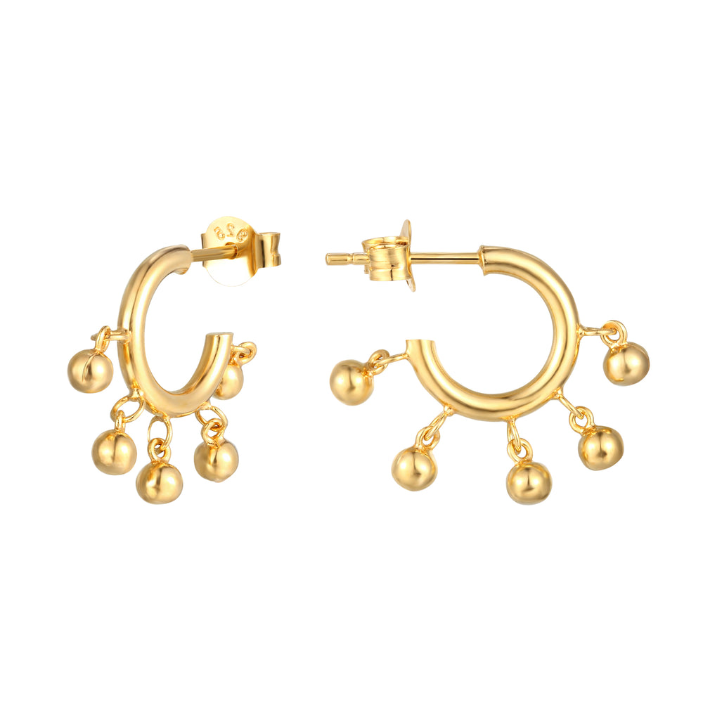 gold charm hoops - seolgold