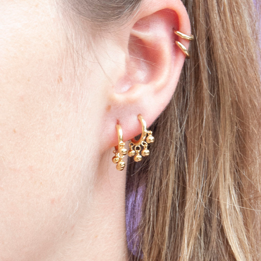 Beaded Charm Studs - seol-gold