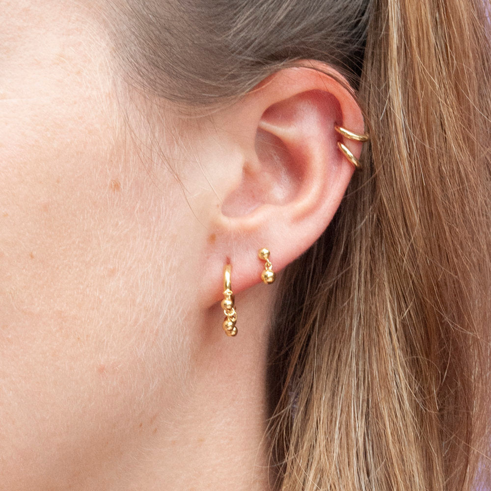 Ball Stud Drop Earrings - seol-gold