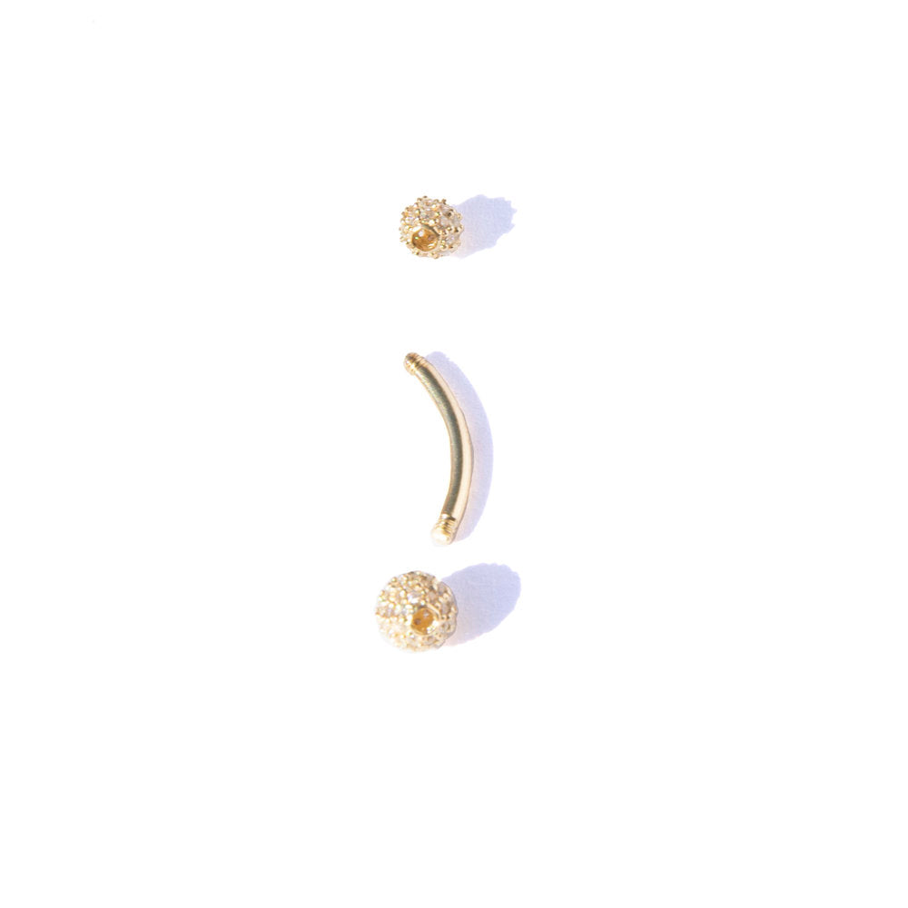 9ct gold pave cz sphere belly bar - seol-gold