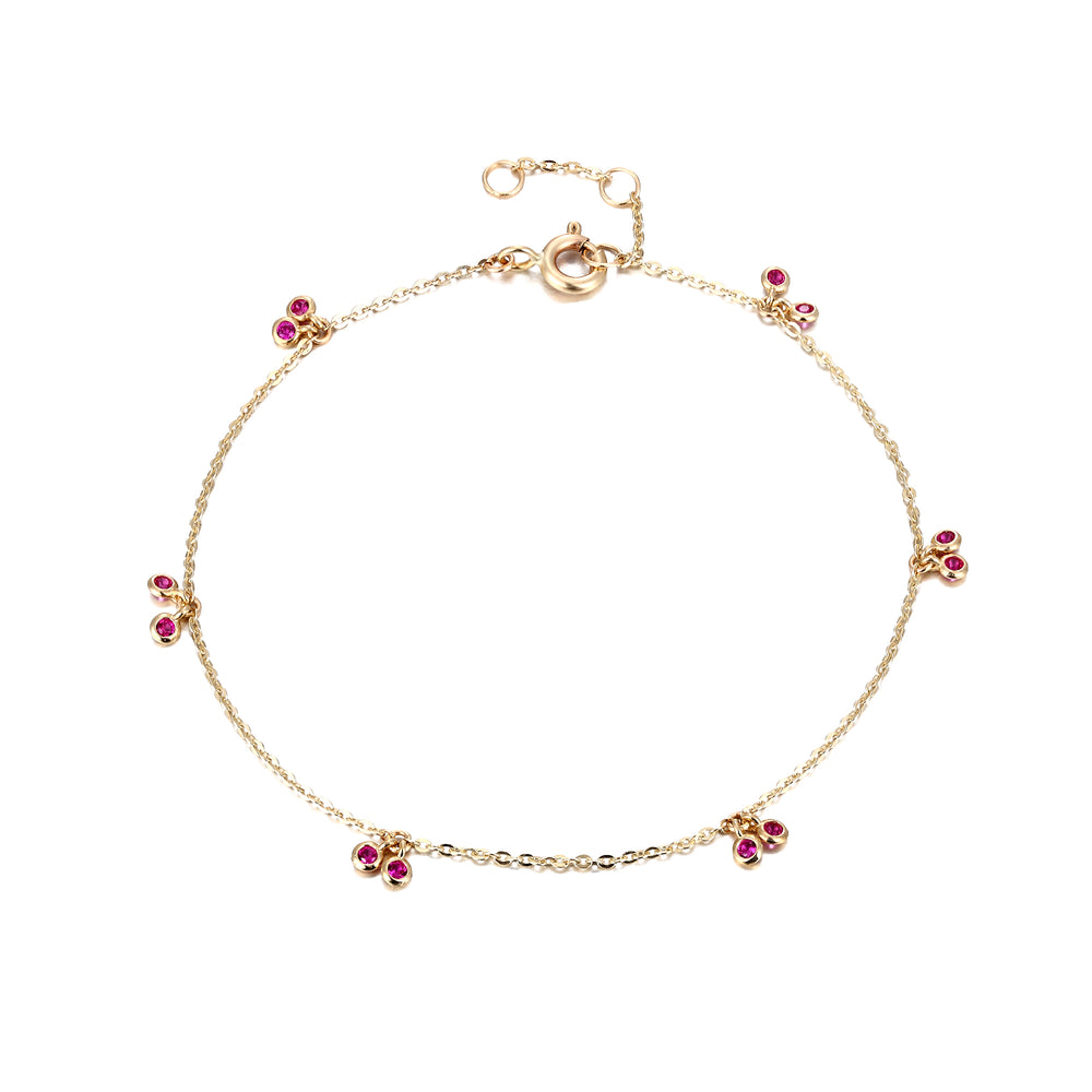 9ct Gold Ruby Charm Bracelet